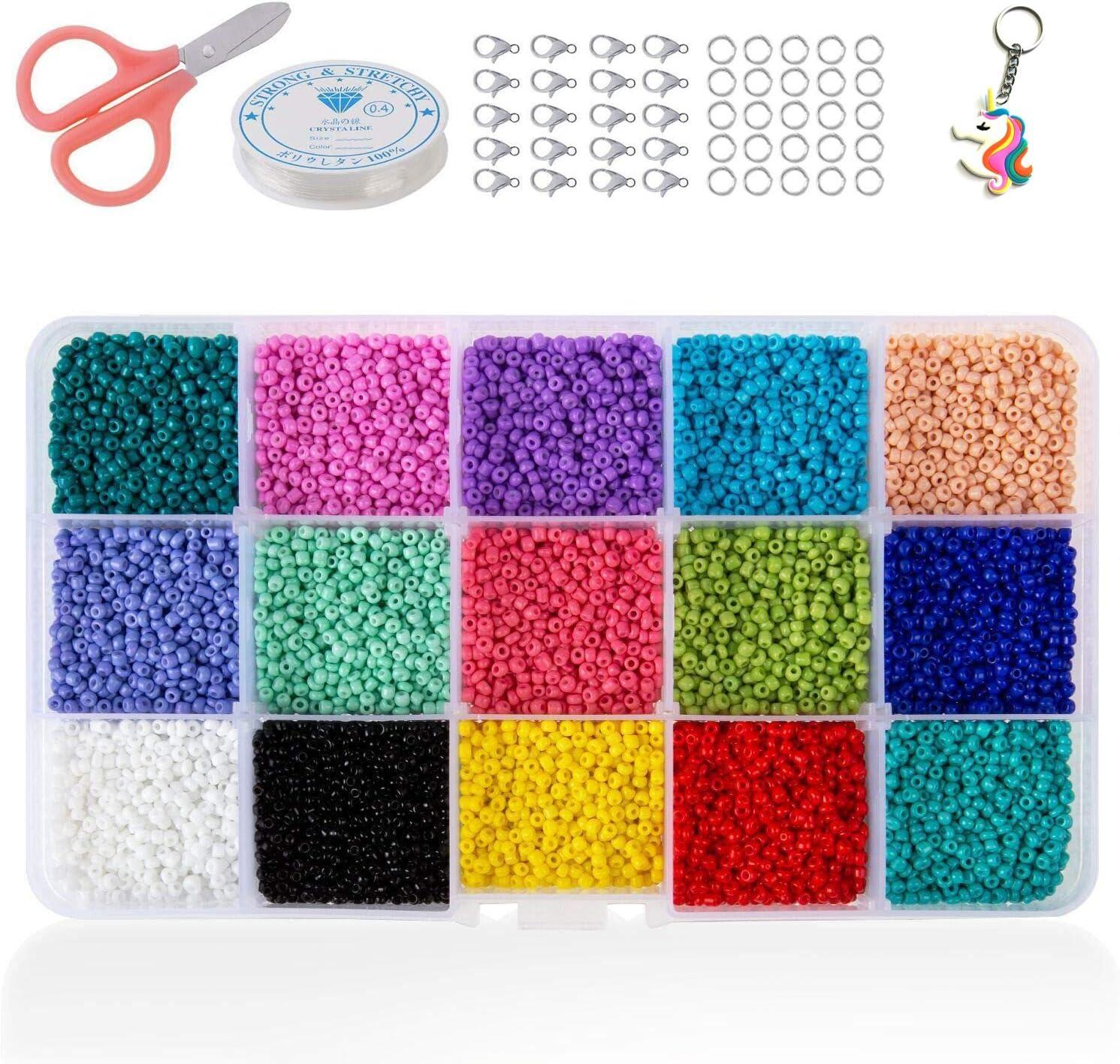 Cuentas de cristal para semillas, pequeñas cuentas de poni, varios colores opacos, para hacer joyas, encontrar arte, manualidades, decoración de bricolaje (15 colores 2mm)