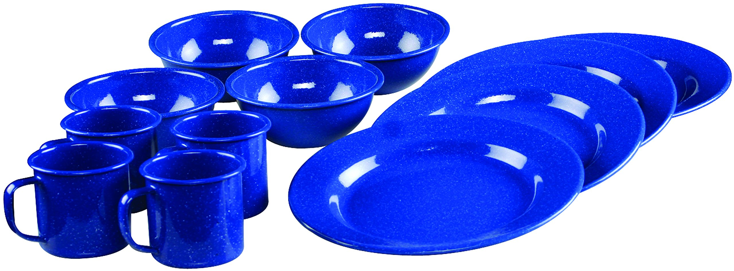 Coleman 12-Piece Enamel Dinnerware Set, Blue