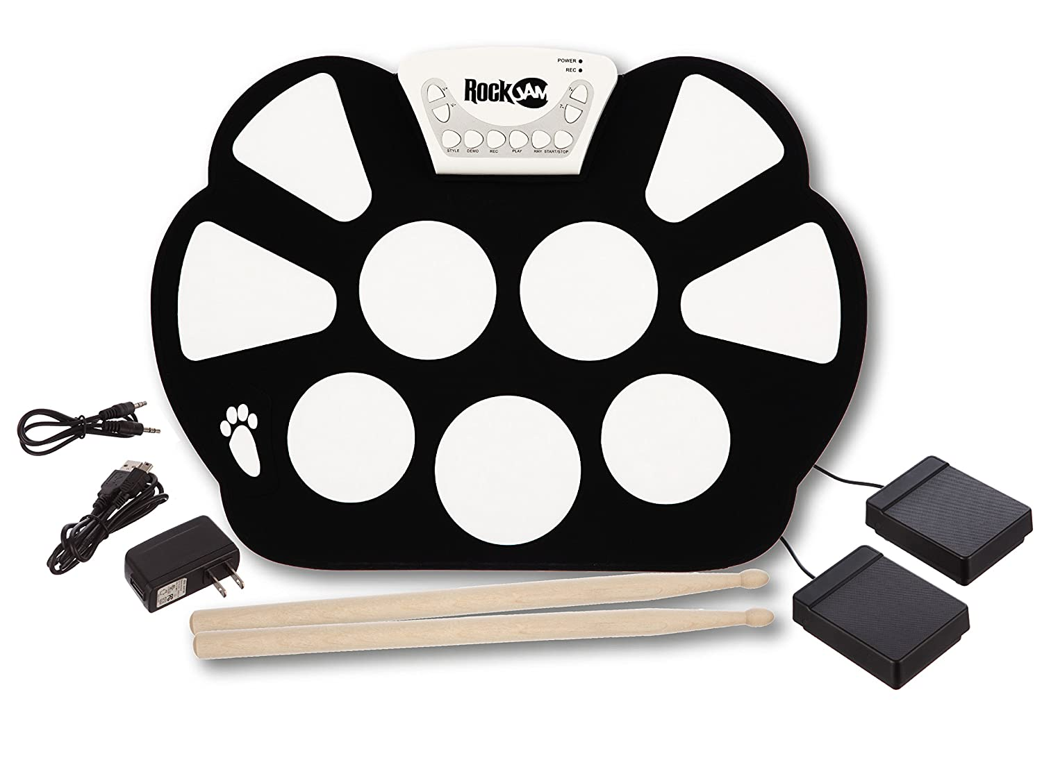 rockjam portable electronic roll up drum kit with power supply sticks and ebay. Black Bedroom Furniture Sets. Home Design Ideas
