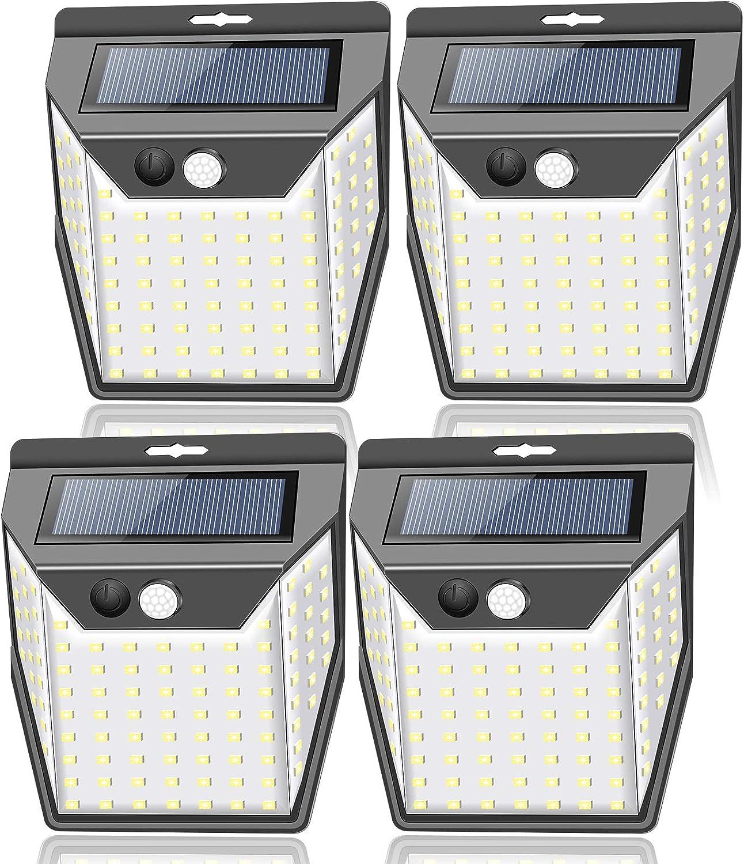 Solar Lights Outdoor[99 LED/4 Packs & 300° Wide Lighting], Towkka Solar Lights with 3 Optional Modes/IP65 Waterproof, Wireless Security Solar Motion Sensor Light for Fence Front Door Yard Patio Garden