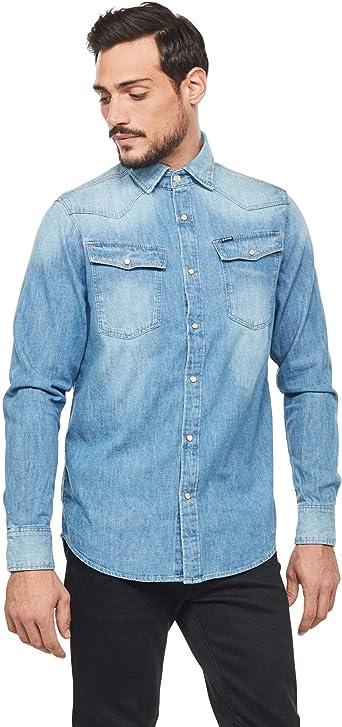 G STAR 3301 Straight Chemise pour Homme Bleu