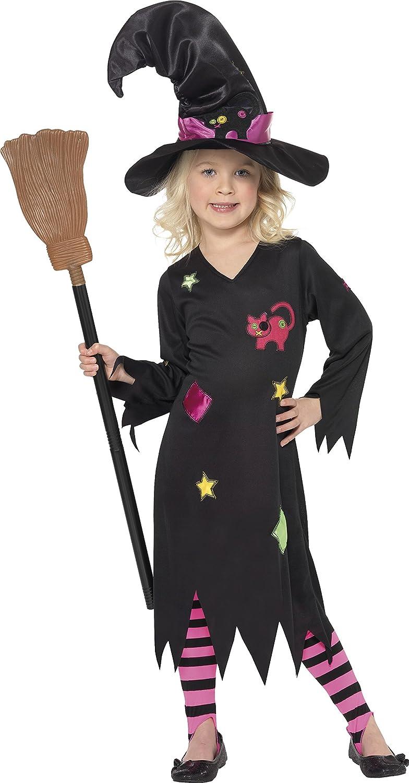 Smiffys 35655 - Disfraz de bruja para niña, talla 3-4 años, T2 ...