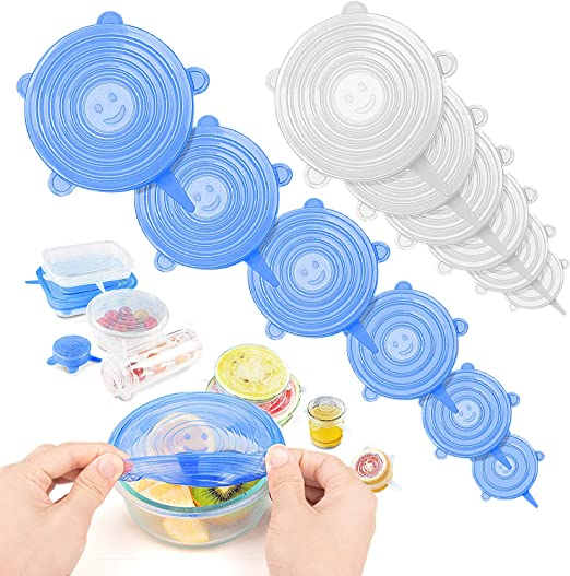 6x Stretch Silicone Fresh Wraps Seal Cover Reusable Bowl Food Storage Lids blue