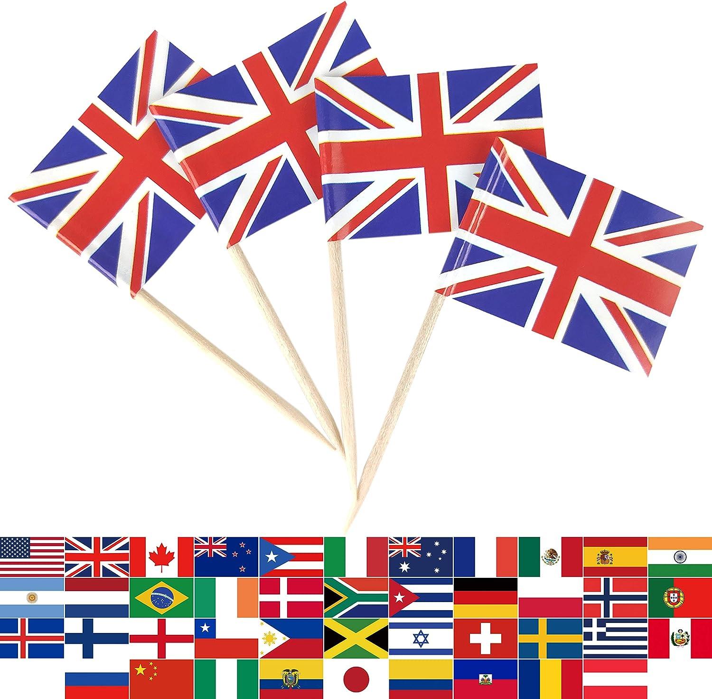 JBCD 100 Pcs United Kingdom UK Flag Toothpicks British Flags Cupcake Toppers Decorations, Cocktail Toothpick Flag Cake Topper Picks Mini Small Flag Cupcake Pick Sticks