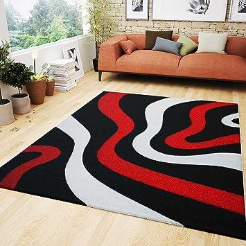 VIMODA Wohnzimmer Teppich Rot Schwarz Weiß Wellen Muster Friseé ...