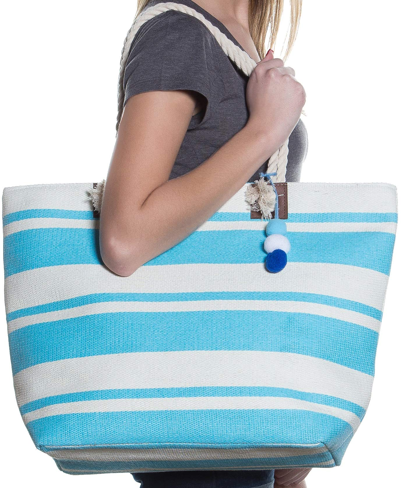 Beach Bag By Pier 17 - Beach Tote Bag withTop Zipper Closure, Cotton Rope Handles, 2 Inner Pocket, Built-In Inner Backing for Extra Durability - L20''xH15''xW6'' (Blue - White)