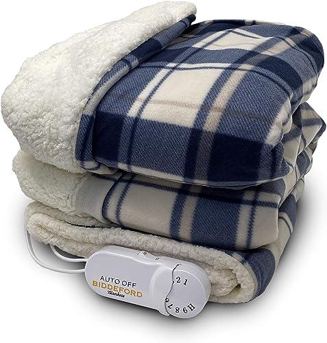 Biddeford Blankets Comfort Knit Sherpa Electric Heated Blanket