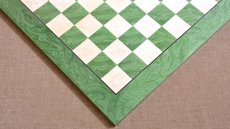 Chessbazaar GrŸn Ash Burl und Maple Hallo-Gloss Schachbrett aus Holz 20