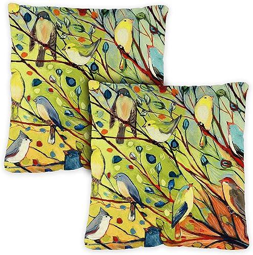 Toland Home Garden 721217 Tree Birds 18 x 18 Inch Indoor Outdoor, Pillow with Insert 2-Pack