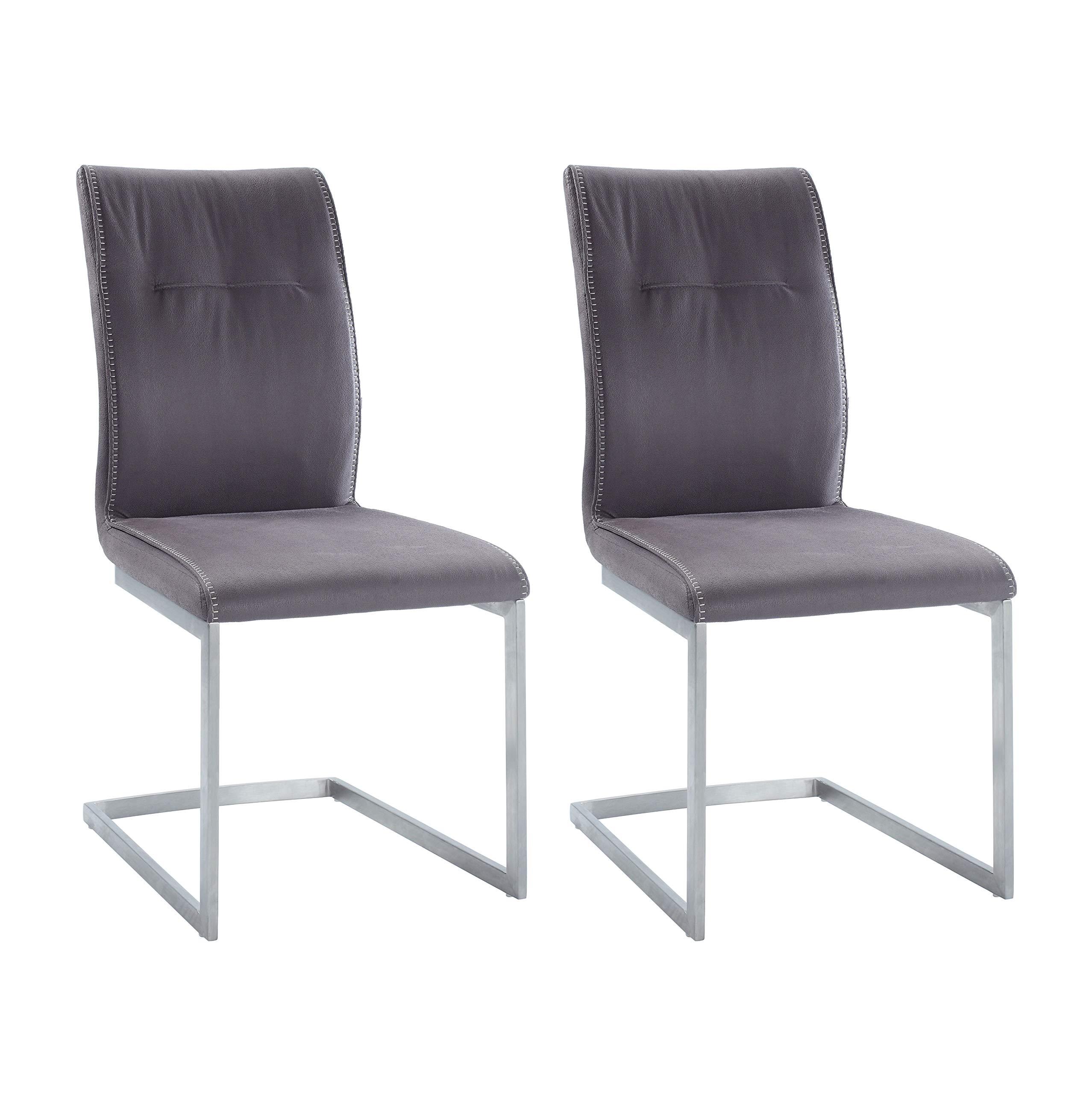 Milan Kaitlynn Grey Cantilever Side Chair (Set of 2)