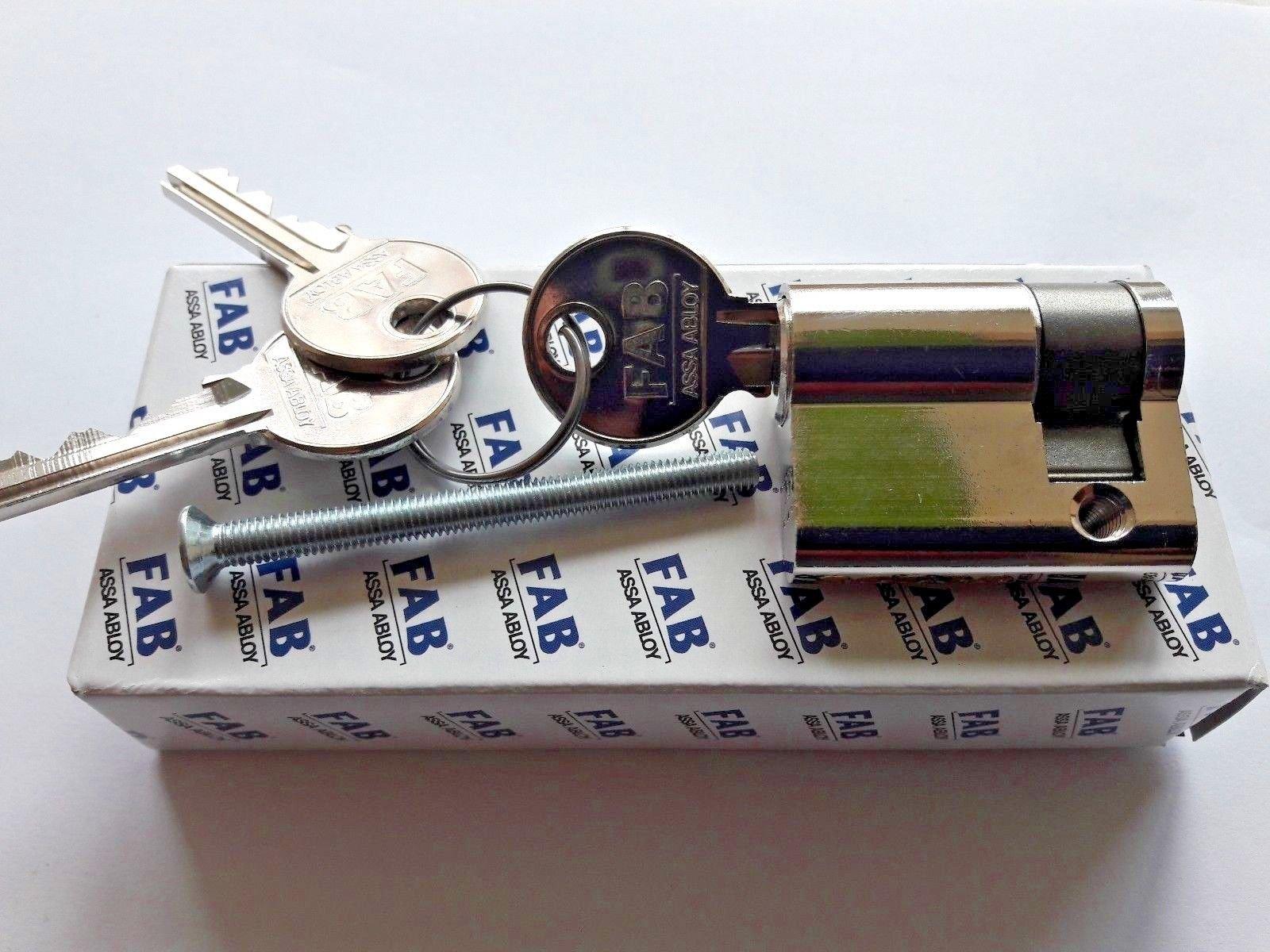 FAB 50 Assa Abloy (Czech Republic)/Euro Profile Cylinder Lock With 3 keys/Color Nickel (30/10 Half Cylinder)