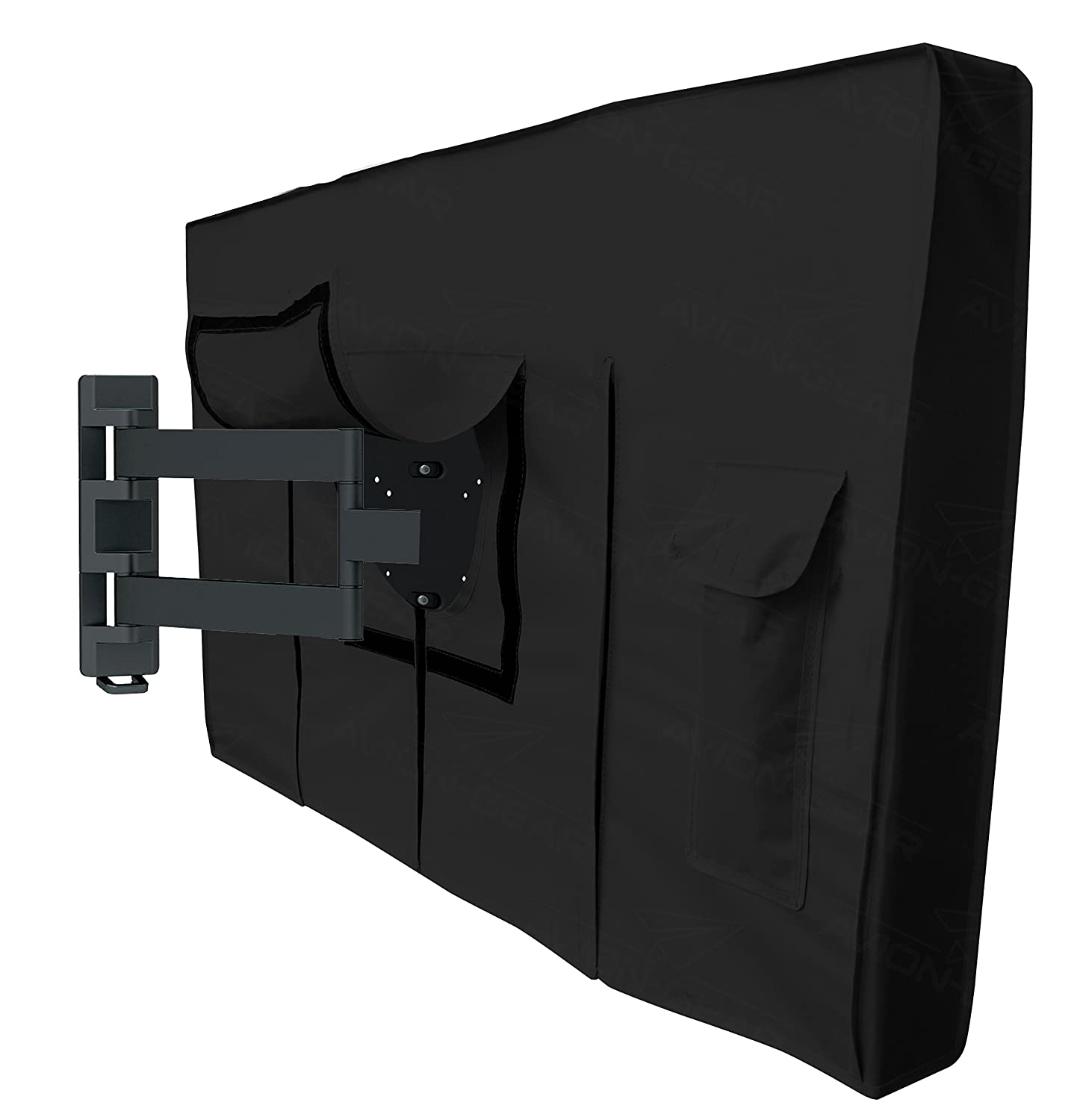 Plasma TV Screens Avion Gear Outdoor TV Cover Black Built in Fully Covered Bottom /& Remote Storage 55 58 Weatherproof Universal Protector for LED LCD