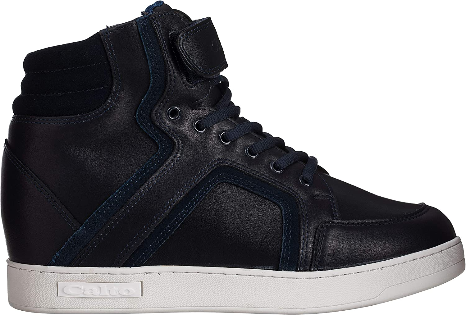 Suede Lace-up High-top Fashion Sneakers CALTO Mens Invisible Height Increasing Elevator Shoes 2.8 Inches Taller