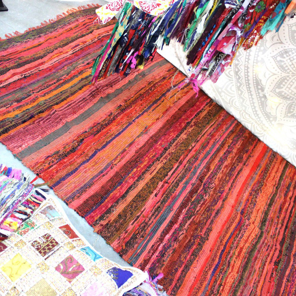 Fair Trade Handmade Rag Rug Chindi Rug Multi Colored Indian Mat Recycled Rug Boho Decorative Rug(5ftx3ft) (Beige) Aakriti Gallery RUGC09