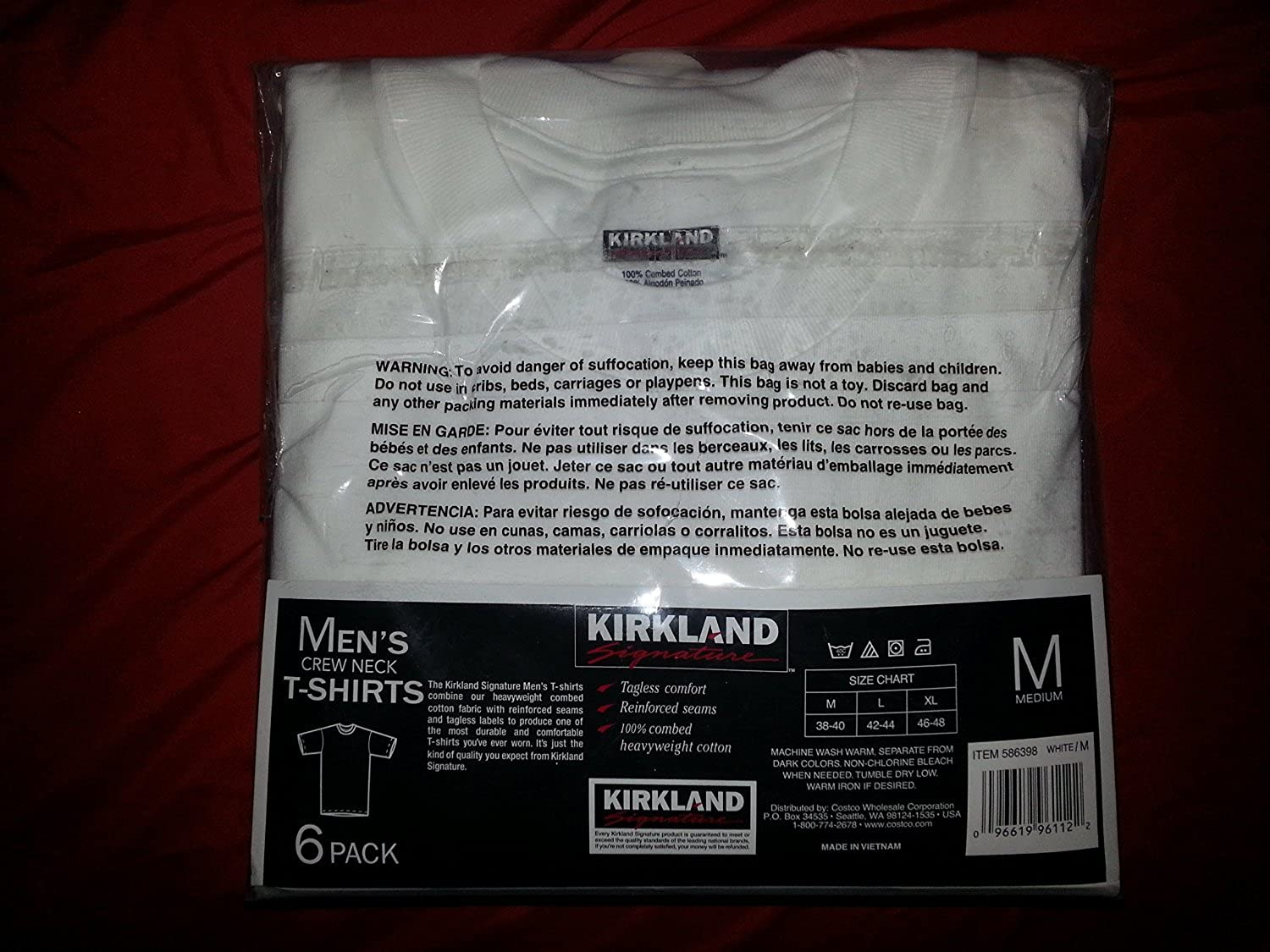 Kirkland black t shirts xl - Amazon Com 6 Pack Kirkland Signature Men S Crew Neck T Shirts 100 Cotton Tagless White Clothing
