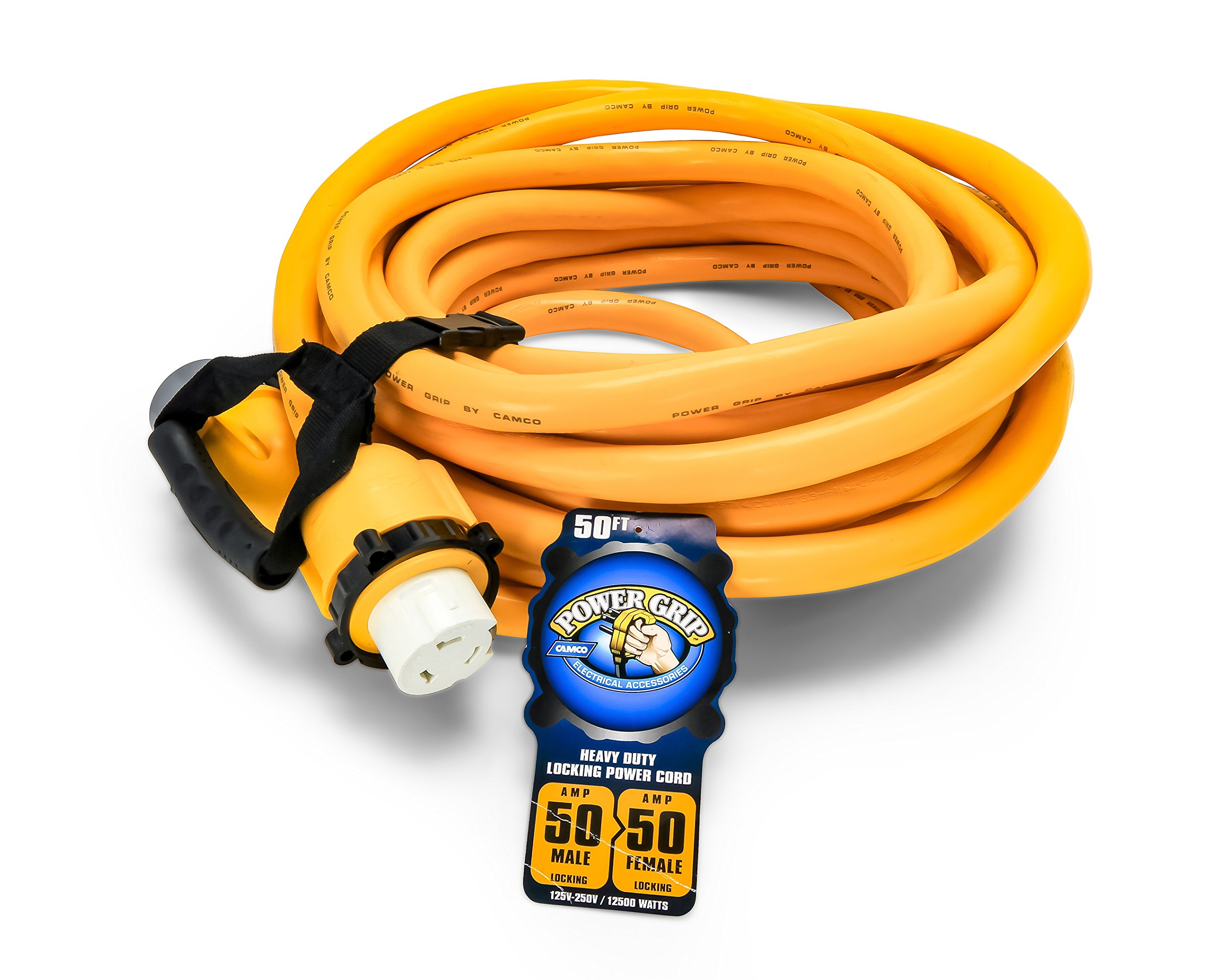 Camco 55623 50' PowerGrip Marine Extension Cord with 50M/50F Locking Adapters