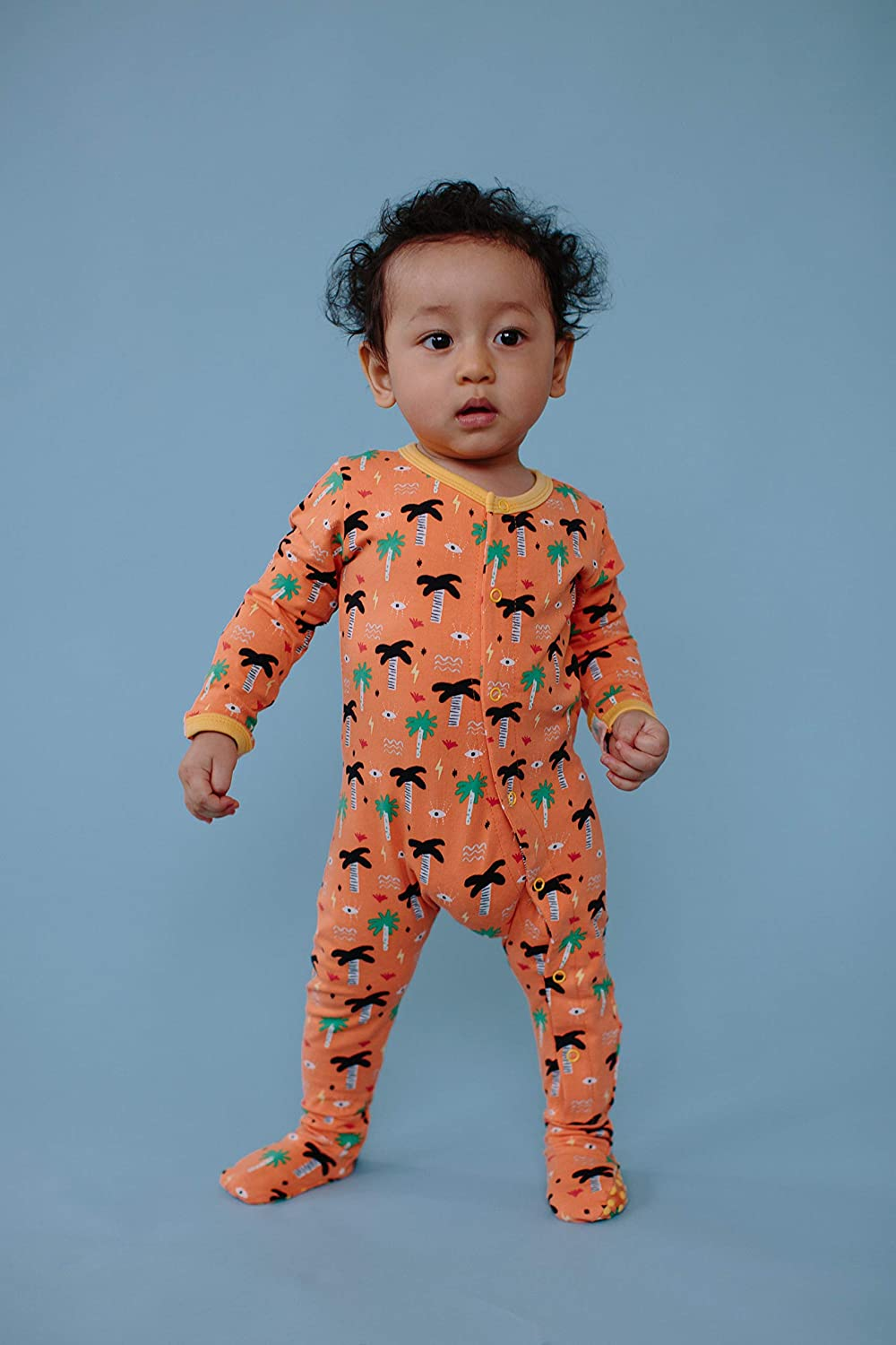 3-24 Months Wild Sundays Baby Toddler Orange Palm Eye Organic Cotton Long Sleeve Pajamas Footsies Snap Buttons