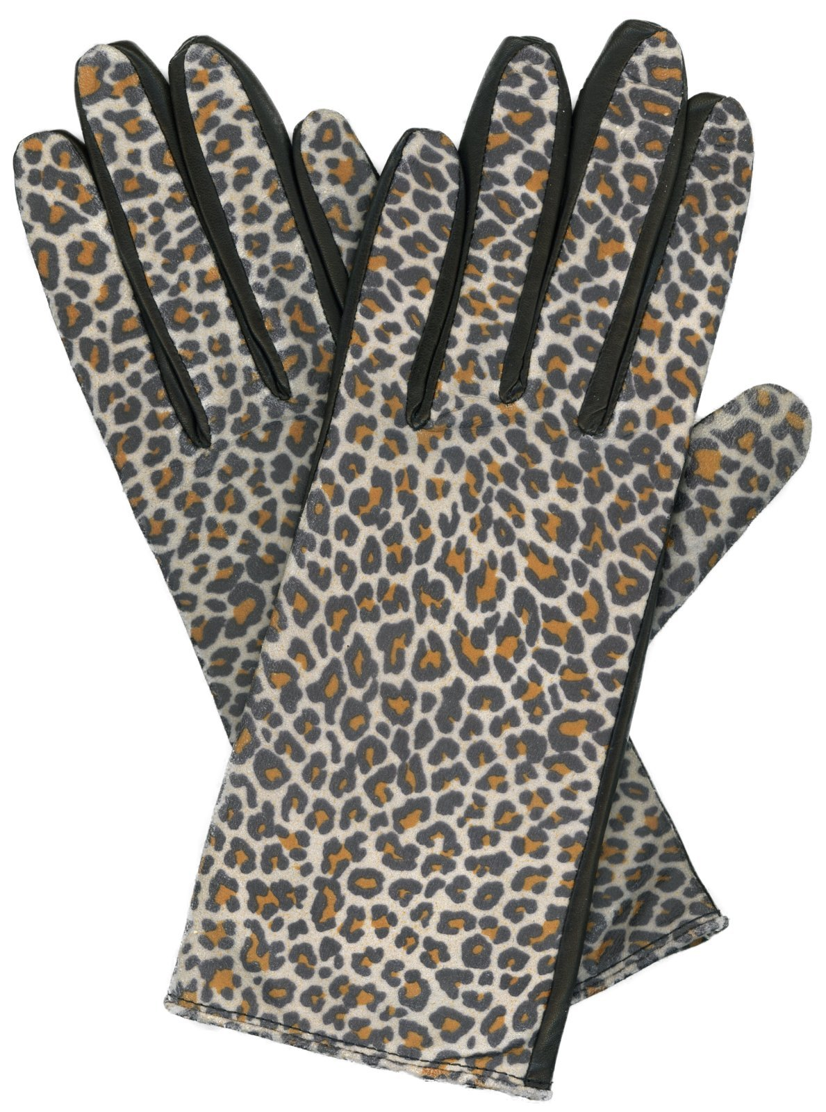 Grandoe Women's KITTY Leather Palm Glove, Leopard Print (Black, Large)