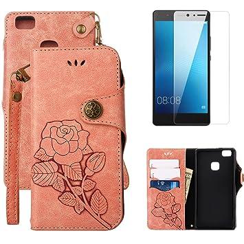 Carcasa para Huawei P9 Lite Funda de piel Vintage Rose ...