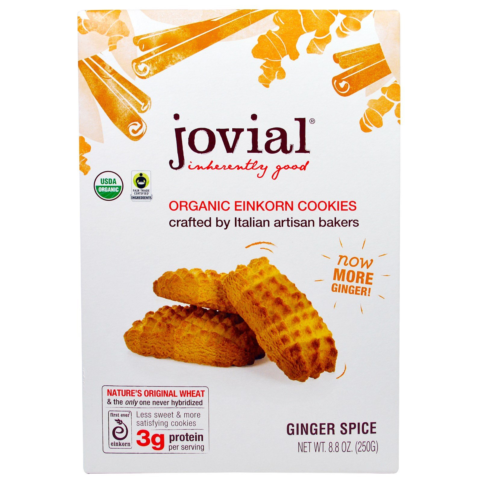 Jovial, Organic Einkorn Cookies, Ginger Spice, 8.8 oz (250 g) - 3PC