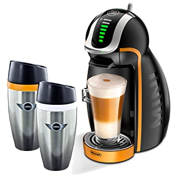 Nescafé Dolce Gusto Mini Racing Set, DeLonghi EDG 466.M Genio -2 cápsula máquina, con{2} café, doble pared, blanco/ Naranja 350 ml: Amazon.es: Hogar