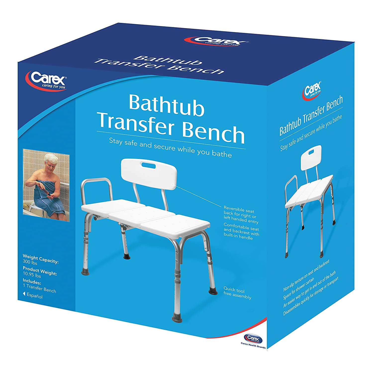 Amazon.com: Carex Bathtub Transfer Bench, 12.4 Pounds, Bath Transfer ...