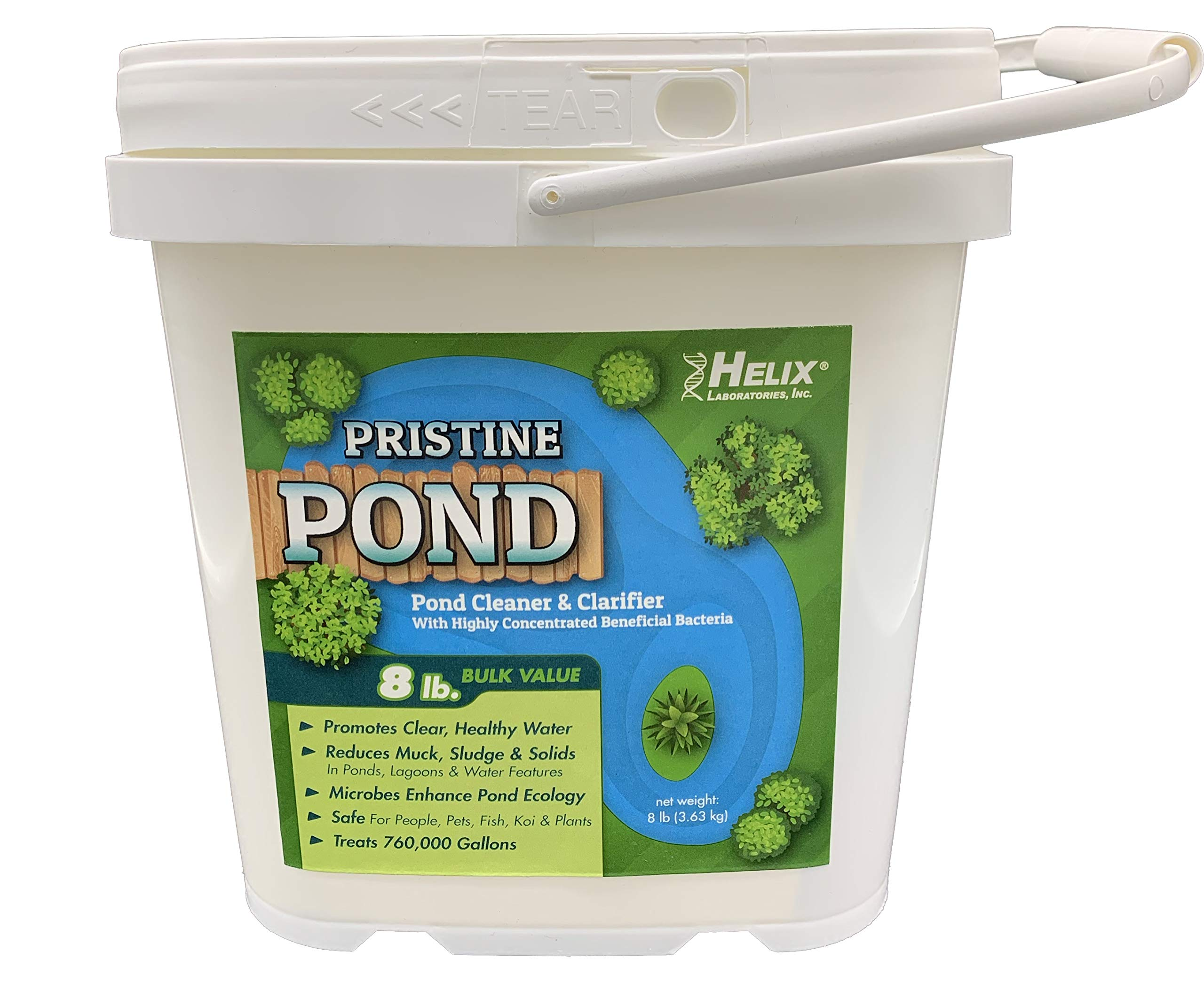 Pristine Pond Cleaner and Clarifier with Highly Concentrated Beneficial Bacteria. Reduces Muck, Solids, and Sludges in Lagoons, Ponds, Water Features. Safe for Koi. Treats up to 760,000 gallons by HELIX LABORATORIES, INC.