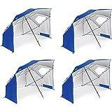 Sport Brella Portable All Weather and Sun Umbrella. 8 Foot Canopy CgbCAX, 4 Pack (Blue)
