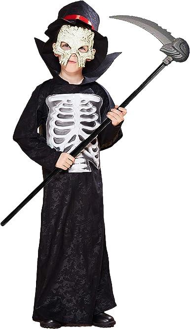 Boys Deluxe Grim Reaper Light Up Eyes Phantom Costume Halloween Fancy Dress Kids