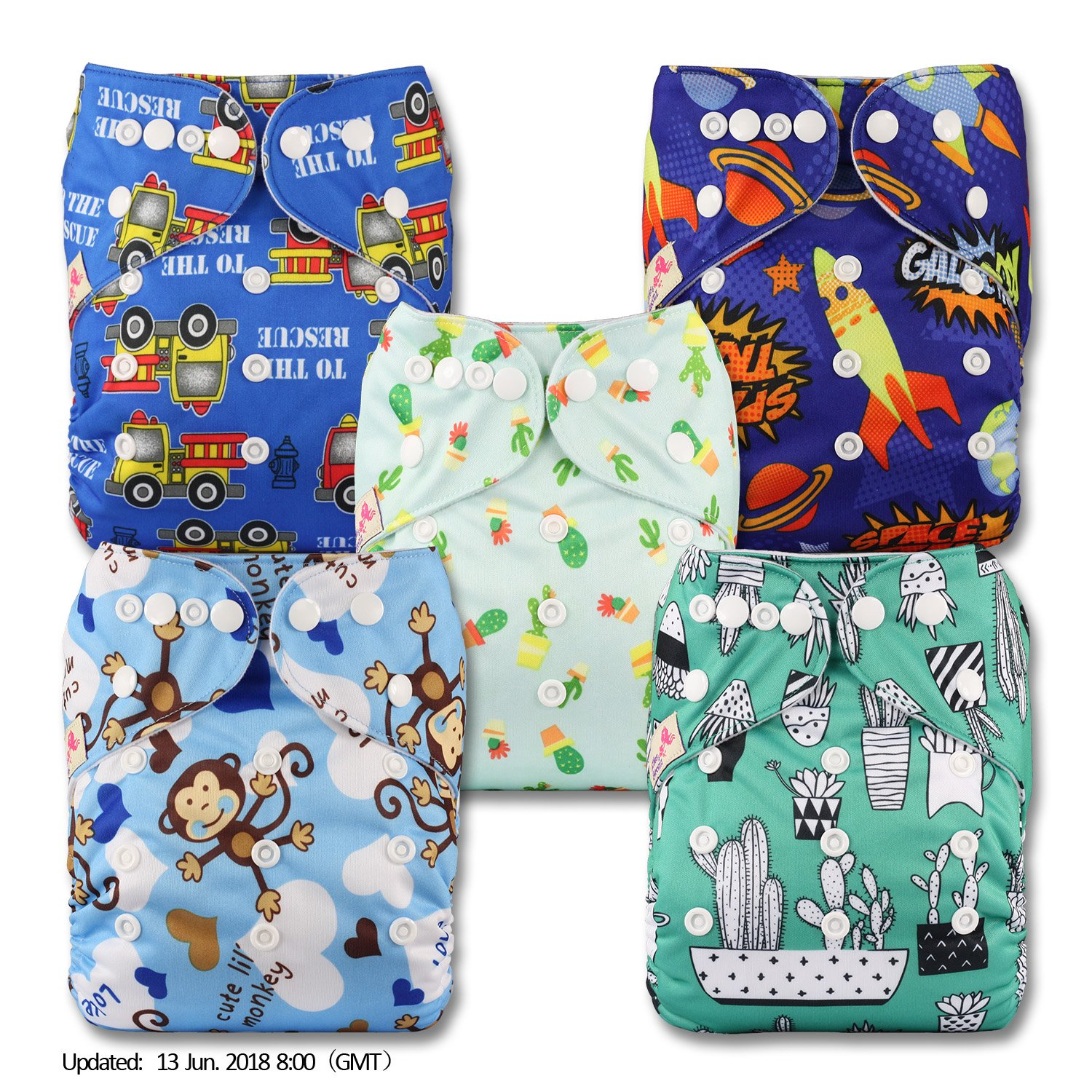 LittleBloom, Reusable Pocket Cloth Nappy, Fastener: Popper, Set of 5 Littles & Bloomz