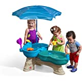 Step2 Spill & Splash Seaway Water Table   Kids Dual-Level Water Play Table with Umbrella & 11-Pc Accessory Set   Large Water