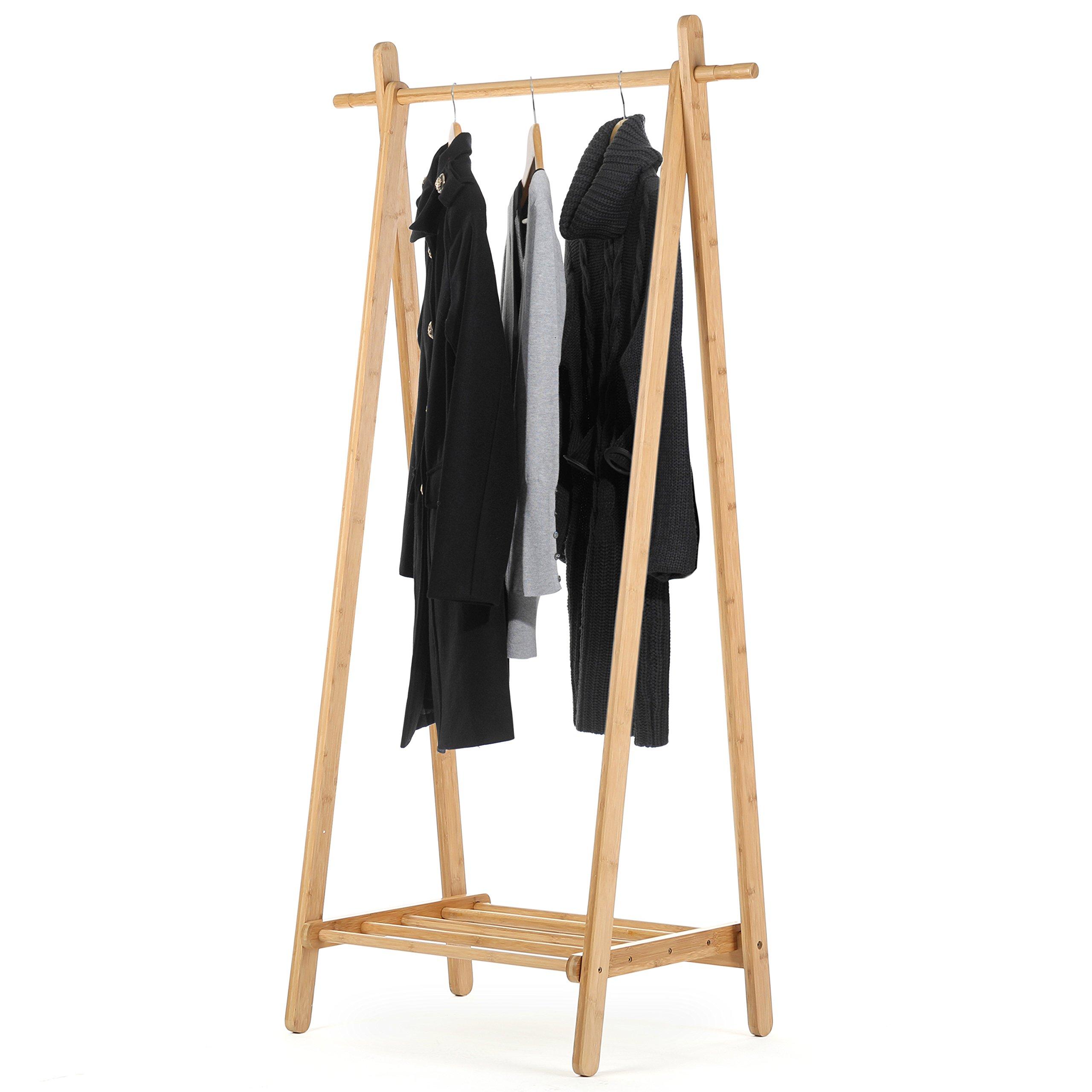 MyGift Entryway Wood Shoe and Coat Rack, Garment Storage Organizer Bar, Brown