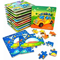 """Vileafy Kids Jigsaw Puzzles Party Favors Toys for Boys & Girls, Wooden Puzzles, 12-Pack with Individual Storage Tray & Organza Bag, 5 3/4"""" x 5 3/4"""" Per Pack"""
