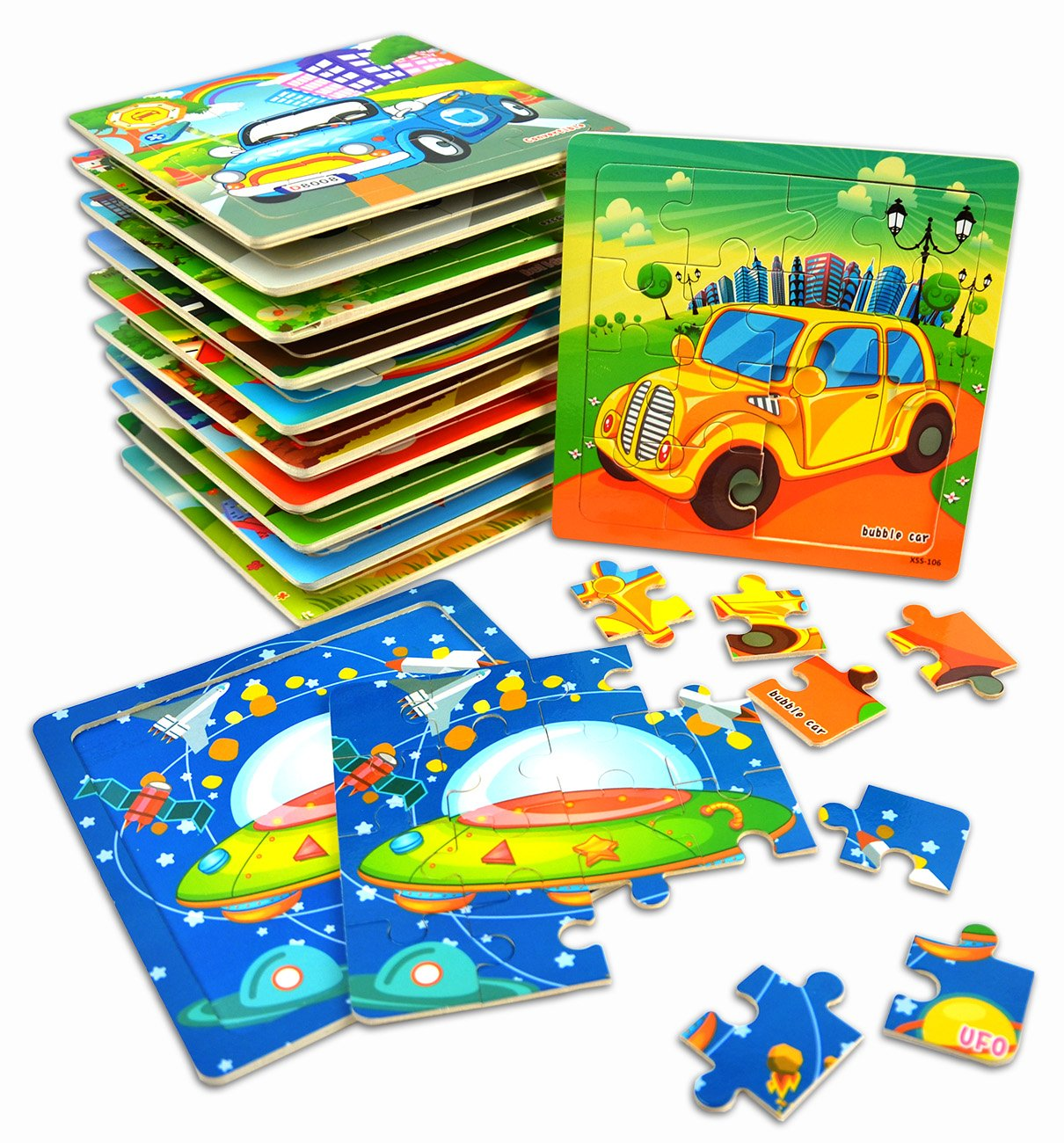 Vileafy Kids Jigsaw Puzzles Party Favors Toys for Boys & Girls, Wooden Puzzles, 12-Pack with Individual Storage Tray & Organza Bag, 5 3/4'' x 5 3/4'' Per Pack by Vileafy