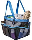 Attmu Portable Shower Caddy with 8 Mesh Storage Pockets, Quick Dry Shower Tote Bag Oxford Hanging Toiletry and Bath Organizer for Shampoo, Conditioner, Soap and Other Bathroom Accessories, Blue