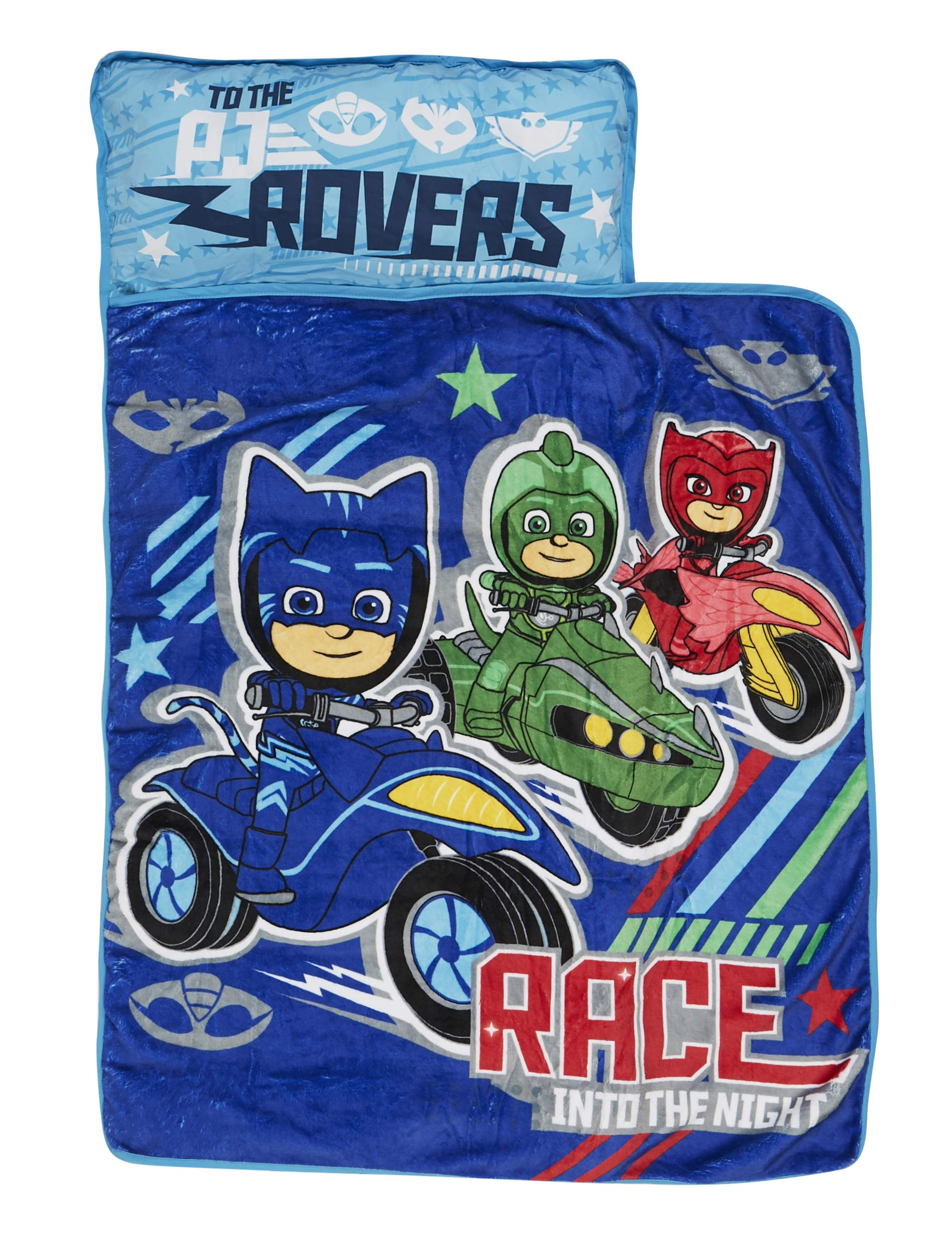 PJ Masks Race Into The Night Nap Mat - Includes Pillow and Fleece Blanket - Great for Boys and Girls Napping at Daycare, Preschool, Or Kindergarten - Fits Sleeping Toddlers and Young Children by PJ Masks