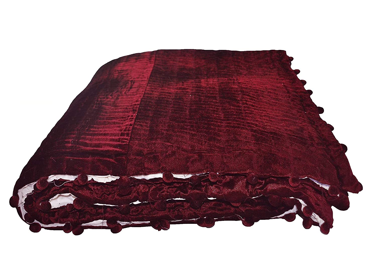 Image of Customizable Velvet Quilt with Pom Poms, Deep Red Velvet Quilt with 100% Cotton Batting, Pick Quilt Home and Kitchen