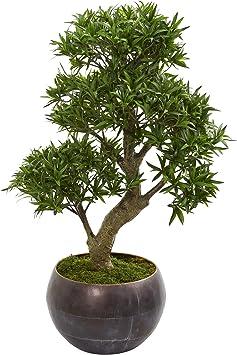 Amazon Com Nearly Natural 37 Podocarpus Artificial Bonsai Metal Bowl Silk Trees Green Furniture Decor