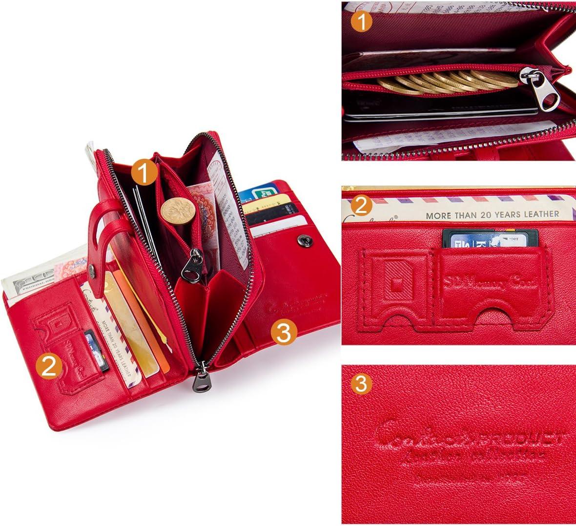 Red Contacts Cuir v/éritable Womens Trifold Porte-monnaie Porte-monnaie Zipper Purse Portefeuille