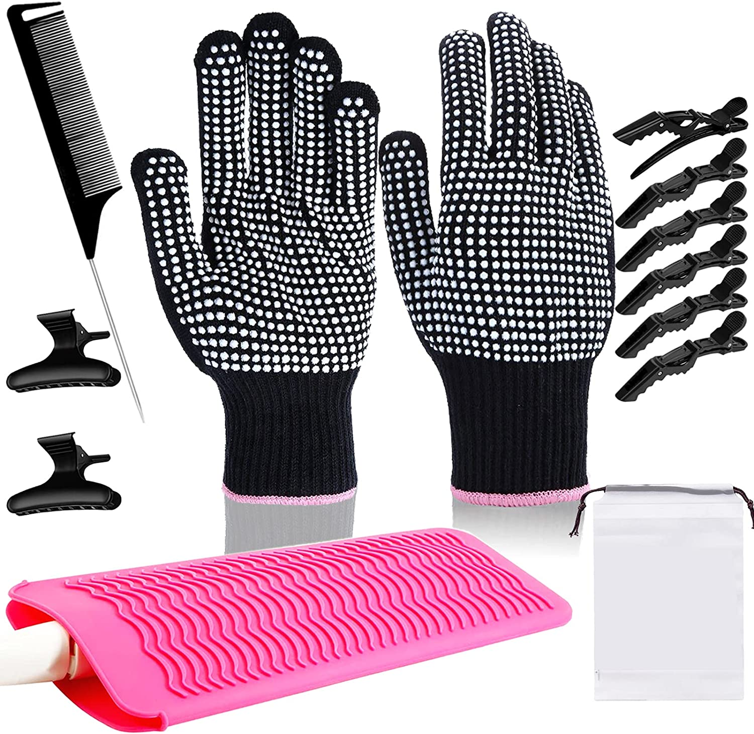 2 Pcs Heat Resistant Gloves for Hair Styling, Travel Silicone Mat Pouch for Curling Iron,Flat Iron,Hair Straightener,Hair Curling Wands, with Styling Hair Clips and Hair Comb for Home and Hair Salon