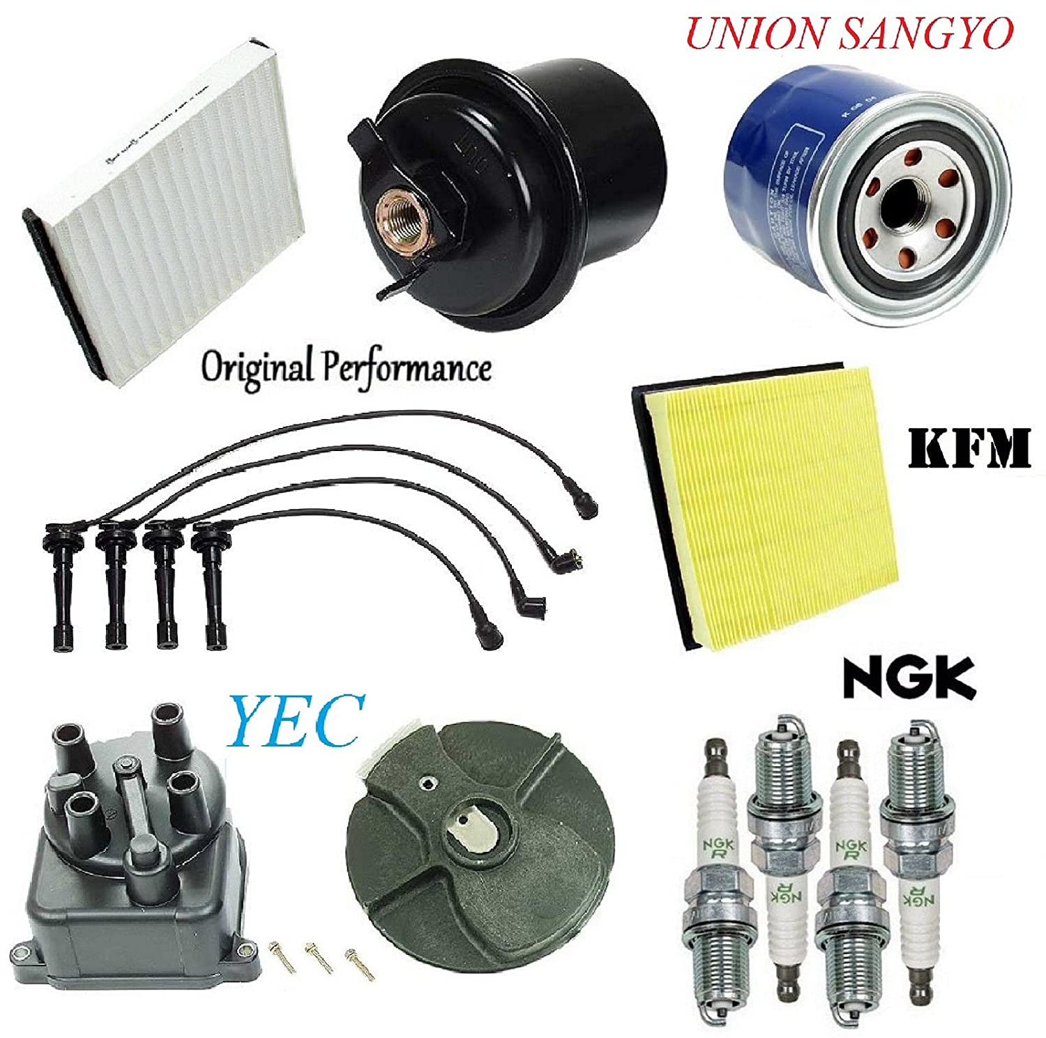 For Honda Civic 96-00 Tune Up Kit Wire Set NGK Plugs Cap Rotor Air Fuel Filters