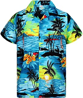 df6ce224 V.H.O. Funky Hawaiian Shirt for Men Shortsleeve Front-Pocket Casual Button  Down Surf