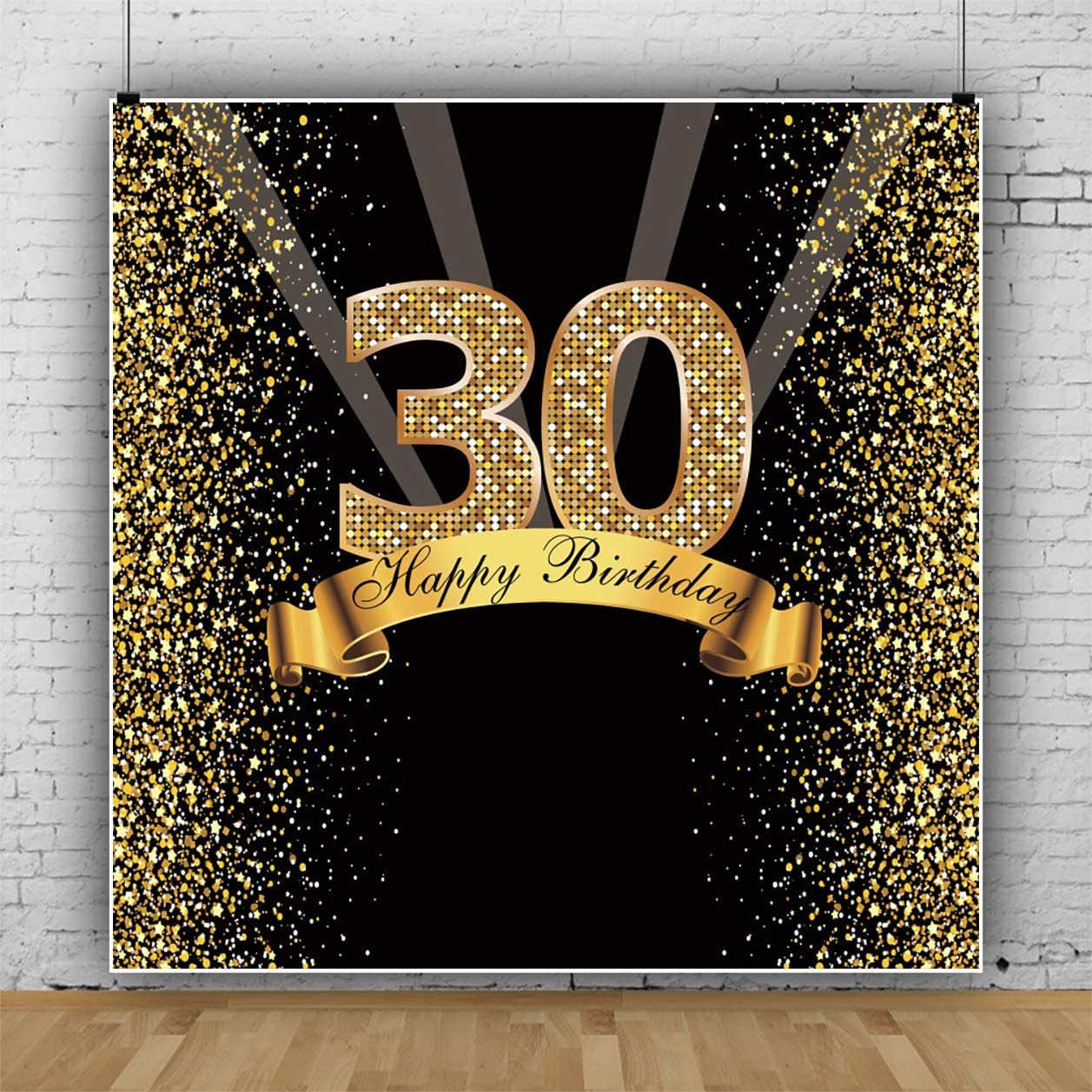 Yeele Gold 30th Birthday Backdrop for Woman Man 5x5ft Glitter Shiny Golden Sequins Sparkling Photography Backgrounds Happy 30 Birthday Banners for Photoshoot Props Lady Gentlemen Portrait Wallpaper