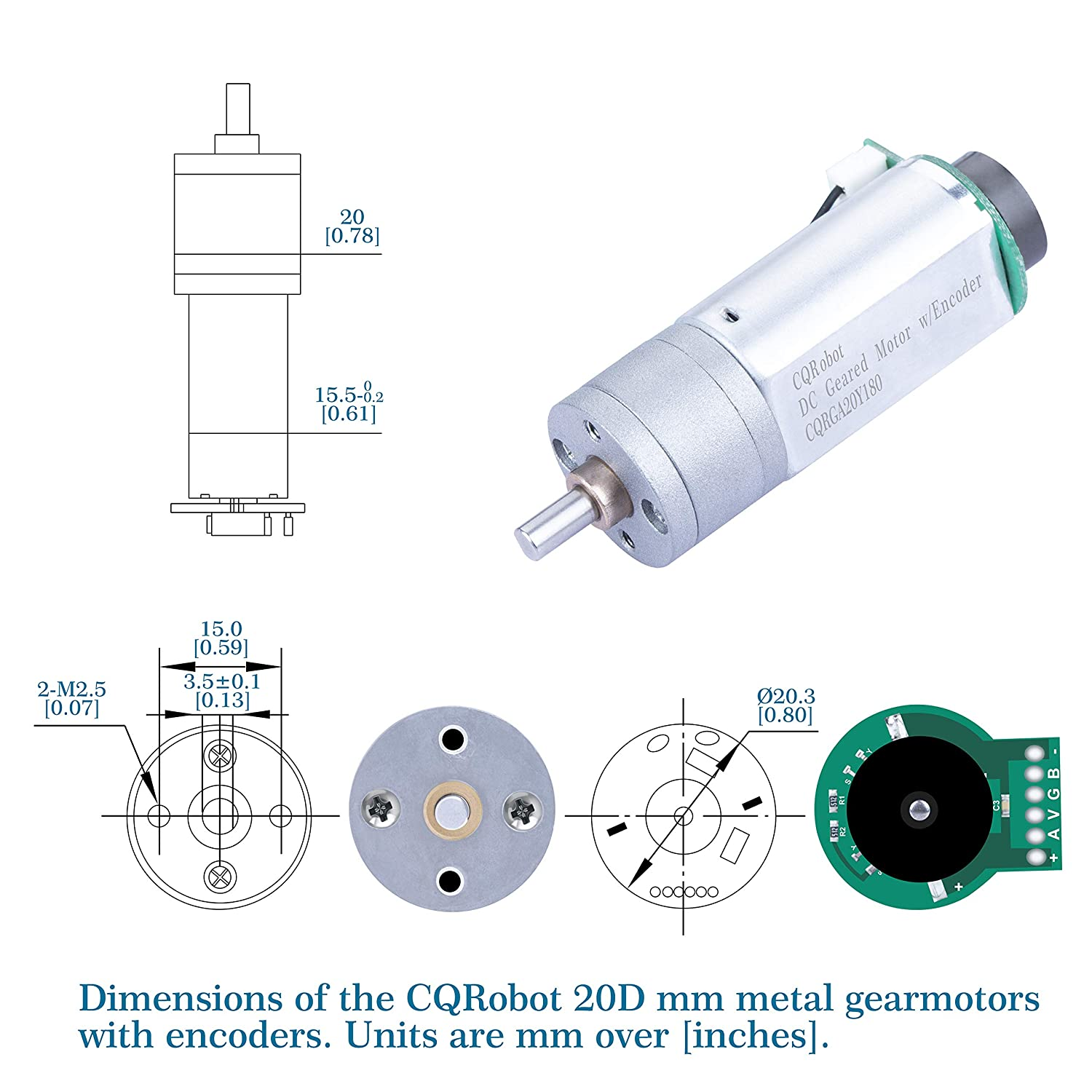 D-Shaped Output Shaft 4 mm Diameter and Gearbox Panel Extends 11 mm. 77.84 oz.in CQRobot 107.5:1 Metal Gearmotor 20Dx60.4L mm 12V with 48 CPR Encoder with Mounting Bracket 58 RPM//5.6 kg.cm