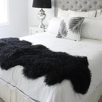 Amazon.com: Genuine Negro Piel de Oveja Cordero cama bufanda ...