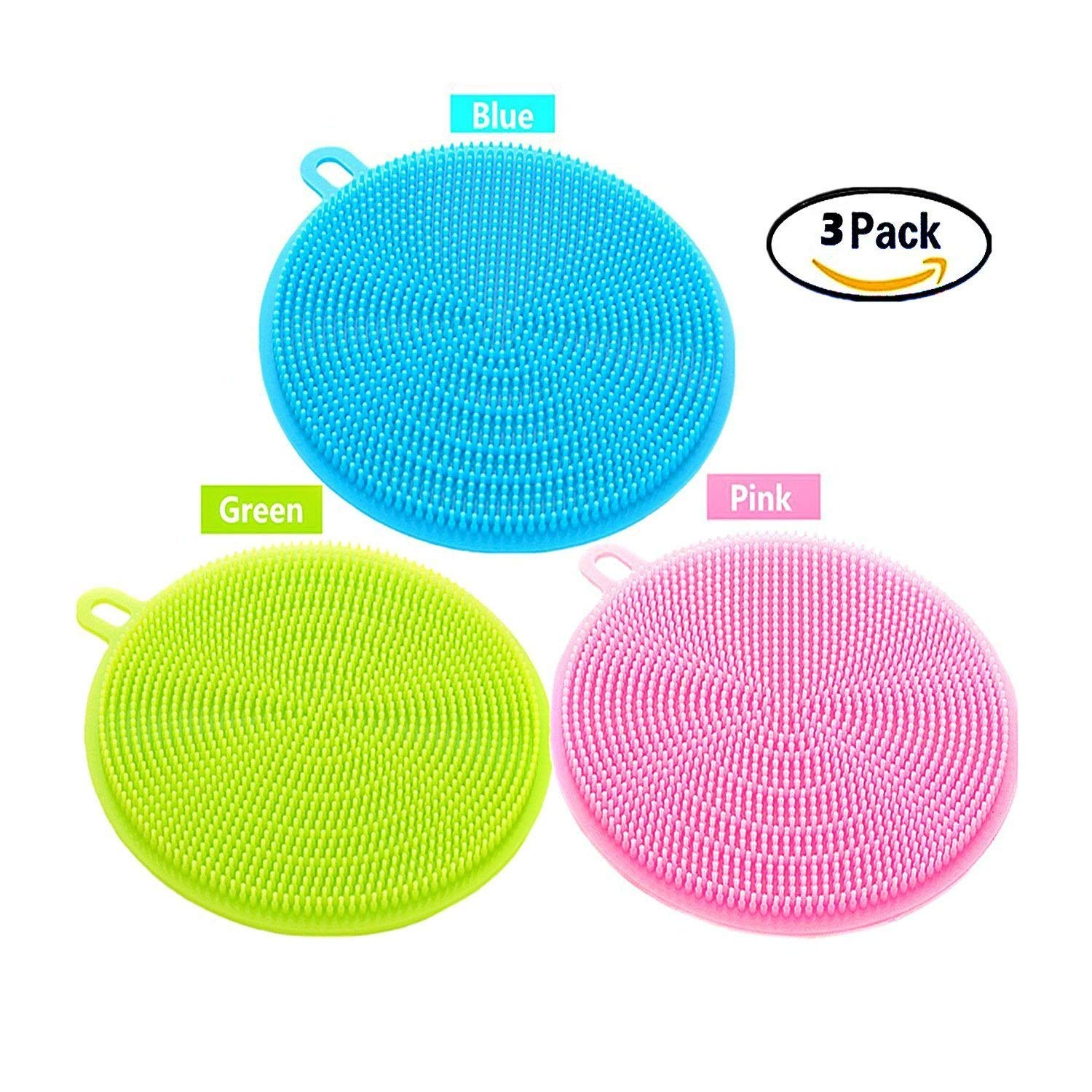 Kitchen Sponge, Pack of 3 Multi-Functional Silicone Sponges Non Stick Dishwashing Brush, Double Sides Used, Dish Towel Scrubber for Kitchen Wash Pot Pan Dish Bowl, Wash Fruit and Vegetable