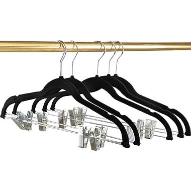 Utopia Home Premium Velvet Hangers - Heavy Duty - Non Slip - Velvet Suit Hangers Clips Pants Skirt Hanger Black - Pack of 12