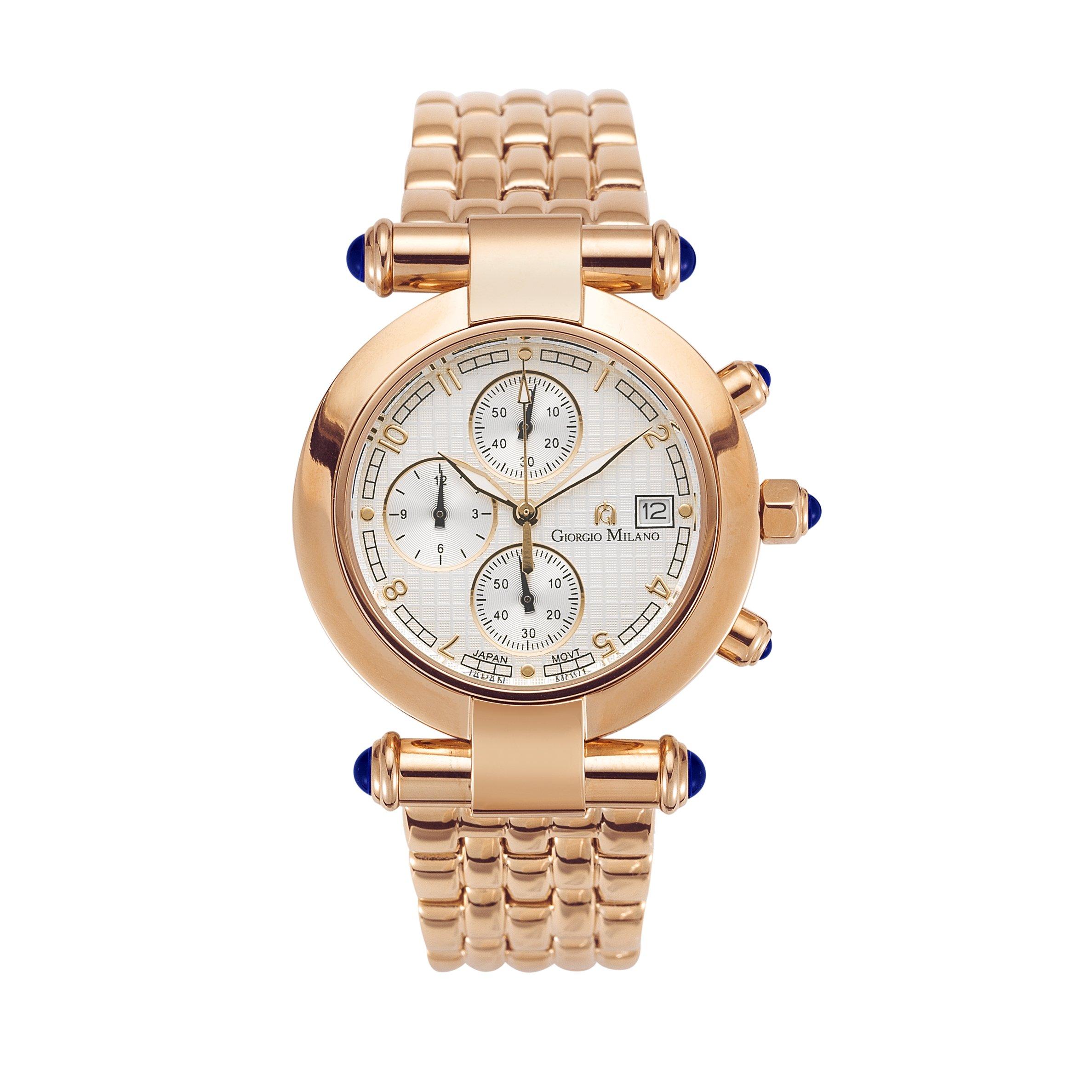 Giorgio Milano 931RG02 ''Lucia'' Women's IP Rose Gold Chronograph with Blue Stones Slim Watch