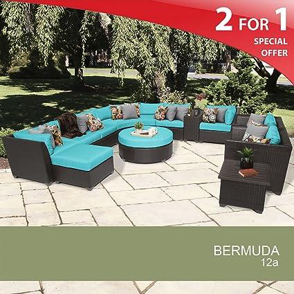 Prime Amazon Com Bermuda 12 Piece Outdoor Wicker Patio Furniture Machost Co Dining Chair Design Ideas Machostcouk