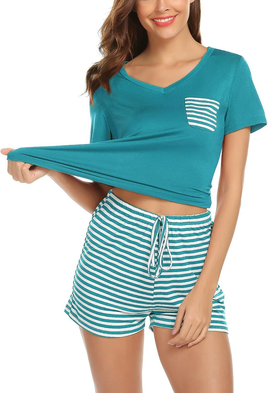 Pijama Mujer Verano Corto Conjunto de Pijamas Pantalones Manga Corto 2 Piezas
